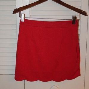 Red Scalloped Skirt